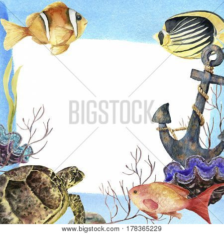 Watercolor tropic sea frame. Hand painted tropic fish, old anchor, sea anemones, seaweeds, coral isolated on white background. Underwater illustration for design, fabric or print