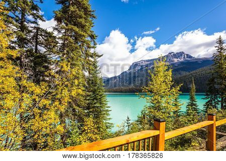 Magic Emerald Lake in Yoho National Park, Rocky Mountains. Wooden fence on the lake promenade. The concept of eco-tourism