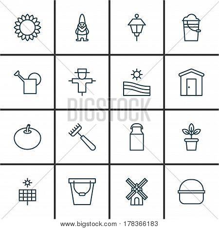 Set Of 16 Holticulture Icons. Includes Bailer, Meadow, Jug And Other Symbols. Beautiful Design Elements.