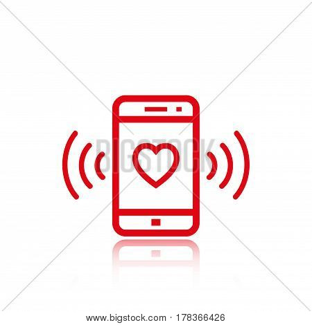 phone rings with a heart icon stock vector illustration flat design