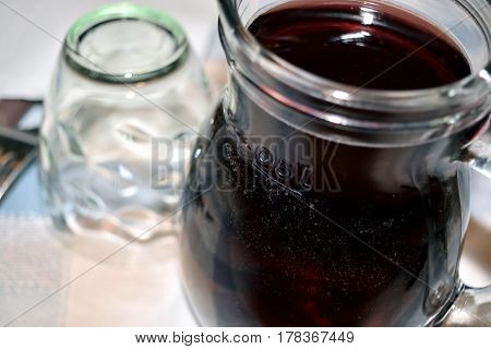 Small Carafe With Red Home Made Wine