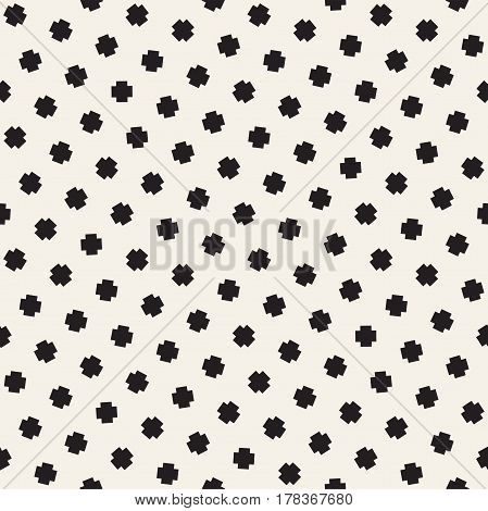 Geometric Scattered Shapes. Monochrome Funky Texture. Vector Seamless Black and White Irregular Pattern