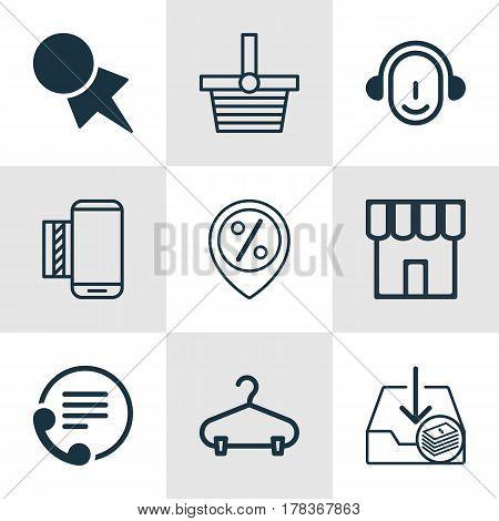 Set Of 9 Ecommerce Icons. Includes Telephone, Shop, Peg And Other Symbols. Beautiful Design Elements.
