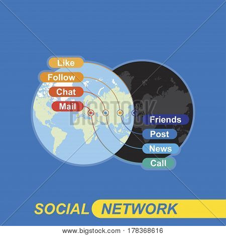 Social network concept on background world map on the topic of communication on the Internet and communication with the outside world. Communicating in social networks and on the phone.