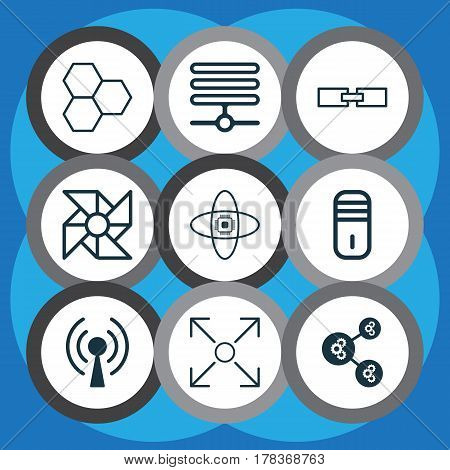 Set Of 9 Robotics Icons. Includes Atomic Cpu, Branching Program, Information Base And Other Symbols. Beautiful Design Elements.