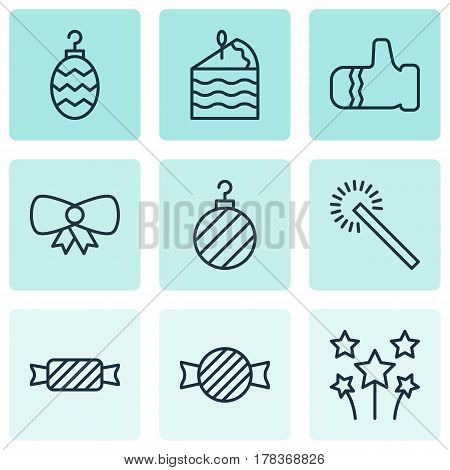 Set Of 9 Celebration Icons. Includes Butterfly Knot, Sparkles, Cake Piece And Other Symbols. Beautiful Design Elements.