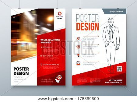 Poster design. A3, A2, A1. Red Corporate business template for poster, banner, placard, billboard, movie poster. Layout with modern elements and abstract triangle background. Creative vector concept
