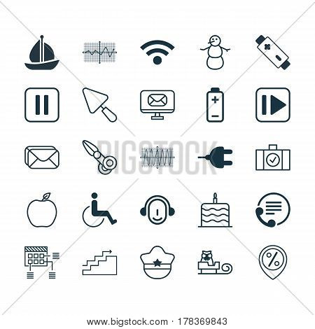 Set Of 25 Universal Editable Icons. Can Be Used For Web, Mobile And App Design. Includes Elements Such As Email, Wireless, Mute Song And More.