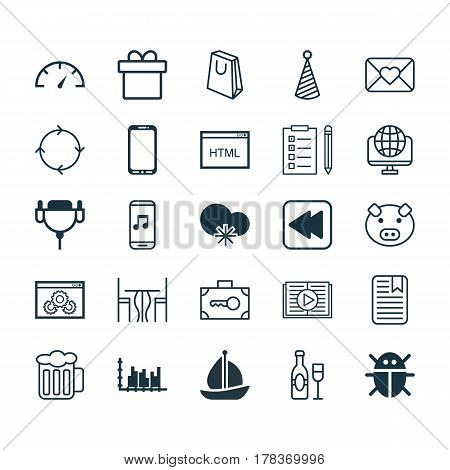 Set Of 25 Universal Editable Icons. Can Be Used For Web, Mobile And App Design. Includes Elements Such As Wine, Recurring Program, Cold Climate And More.