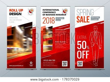 Roll Up banner stand. Presentation concept. Red Corporate business roll up template background. Vertical template billboard, banner stand or flag design layout. Poster for conference, forum, shop