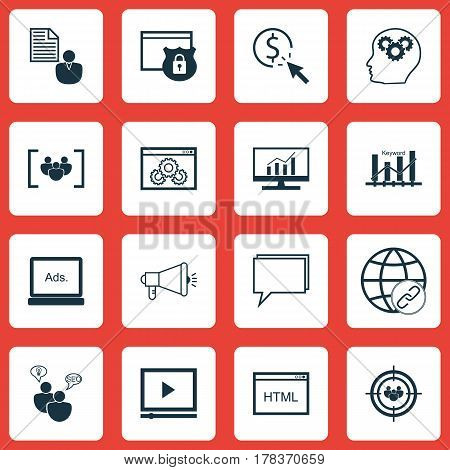 Set Of 16 SEO Icons. Includes Questionnaire, Security, Web Page Performance And Other Symbols. Beautiful Design Elements.
