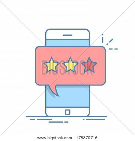 Pop-up dialog box on the mobile phone with a suggestion to put an estimate. View the ranking in the form of stars. Feedback or evaluation. Thin line vector illustration