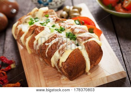 Wholegrain bread stuffed with cheddar and mozzarella cheese