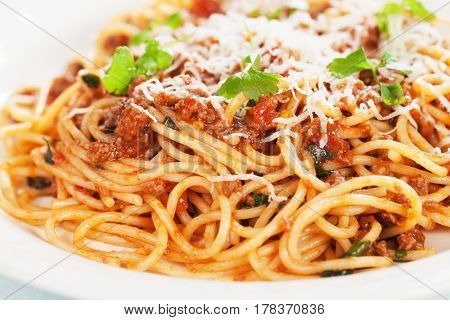 Italian bolognese pasta, spaghetti in ground beef and tomato sauce
