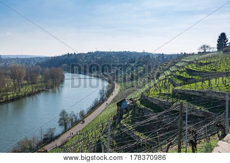 European River Max Eyth See Stuttgart Vineyards Sunny Landscape Beautiful Idyllic Blue Skies Clear W