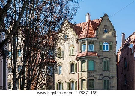 Generic European Architecture German Apartment Building Old Classical Outdoors Blue Sky Orange Roof Autumn Cool
