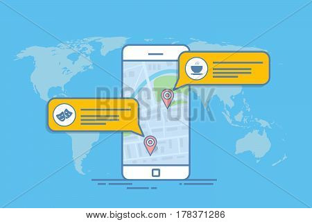 Concept of a mobile map or navigator. Pop-up dialog box with object description on the map. Thin line vector illustration