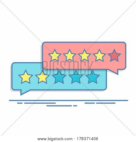 Concept of customer feedback. Rating in the form of stars. Negative or positive rating. Dialog box for the interface in the mobile application or on the site. Thin line vector illustration
