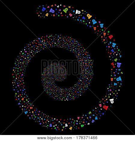 Grave magic portal spiral. Vector bright multicolored scattered symbols.