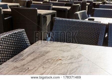 Restaurant Seats Wooden Wicker Black Decoration Furniture Outdoors Backdrop Gastronomy