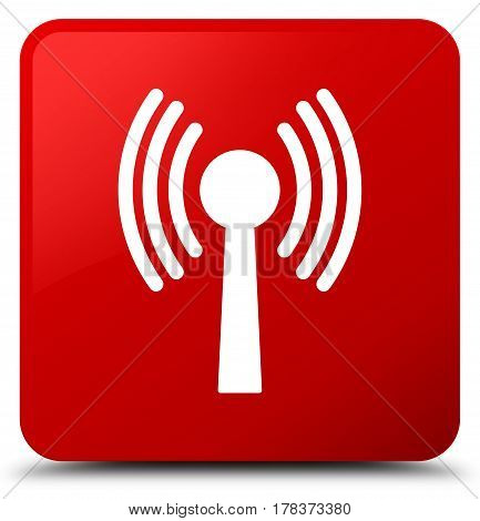 Wlan Network Icon Red Square Button