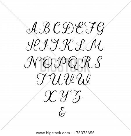 Hand lettering font. Vector calligraphy alphabet. Uppercase letters for wedding decoration, greeting card and other