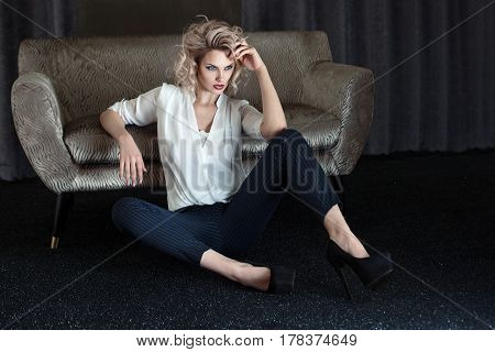 Elegant Blonde Lady Posing.