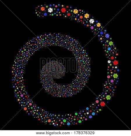 Medical Emblem decorative swirling spiral. Vector bright multicolored random objects.