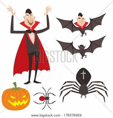 Cartoon dracula vector symbols vampire icons character funny man comic halloween and magic spell witchcraft ghost night devil tale illustration. Horror holiday spooky cute elements.