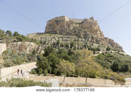 Castle of Santa Barbara in Alicante Spain. Date taken on March 15 2017.