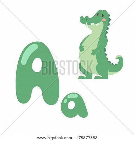 Cute zoo alphabet with cartoon animal crocodile isolated on white background and funny letter A wildlife learn alligator language vector illustration. Nature wild study education font.