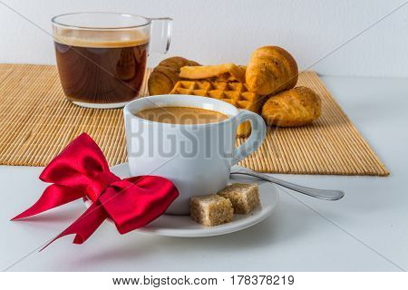Fresh Croissants And Delicious Waffles With Two Coffee On Bamboo Mat, Bakery