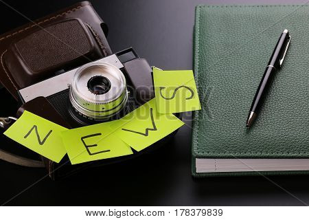 Different objects of journalist concept news camera journalism
