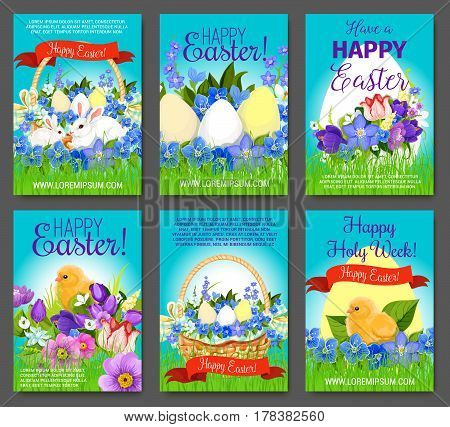 Happy Easter cartoon greeting card set. Easter egg, rabbit bunny, chicken and egg hunt basket on green grass meadow, with spring flowers of tulip, narcissus, crocus and ribbon banner with greetings