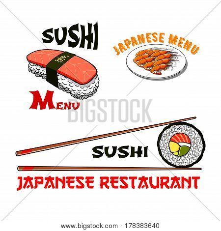 Japanese restaurant or sushi bar icons for seafood menu of salmon sashimi wrapped in nori seaweed, tempura shrimp or grill prawn, vegetable roll and chopsticks. Vector template symbols set