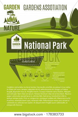 Green and ecology environment association poster for urban gardening and outdoor greenery planting company. Vector design of trees and garden parks. Landing page template