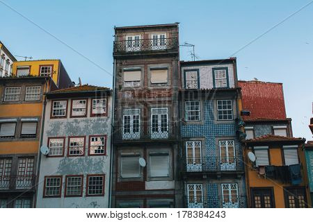 Buildings of houses in old Porto downtown, Portugal.