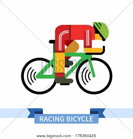 Bicyclist on racing bike. Simple side view clipart drawing in flat color. Isolated speed sport bicycle vector illustration