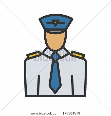 Pilot color icon. Isolated vector illustration on white background