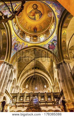 JERUSALEM, ISRAEL - NOVEMBER 18, 2016 Arches Dome Crusader Church of the Holy Sepulchre Jerusalem Israel. Church expanded in 1114 to 1170 AD contains Jesus Tomb and Golgotha Crucifixion site. Church site of resurrection and crucifixion