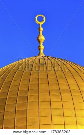 Golden Dome of the Rock Designs Islamic Mosque Temple Mount Jerusalem Israel. Built in 691 One of most sacred spots in Islam where Prophet Mohamed ascended to heaven on an angel in his