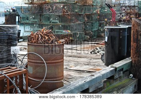 Rusting industrial equipment at a port compound