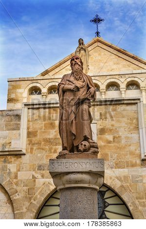 Saint Jerome Statue Saint Catherine Church Church of the Nativity Bethlehem West Bank Palestine. Saint Jerome lived in Bethlehem 384 AD. First person to translate Greek Bible into Latin. Location of Jesus birth in writings in 160AD church built in 326 AD