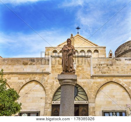 Saint Jerome Statue Saint Catherine Church Church of the Nativity Bethlehem West Bank Palestine. Saint Jerome lived in Bethlehem 384 AD. Location of Jesus birth in writings in 160AD church built in 326 AD by Constantine