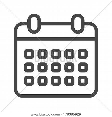 Calendar Thin Line Vector Icon. Flat icon isolated on the white background. Editable EPS file. Vector illustration.