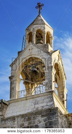 Steeple Belfry Bells Church of the Nativity Bethlehem West Bank Palestine. Chruch located above cave/grotto where Jesus was born. Location of Jesus birth in writings in 160AD church built in 326AD by Constantine