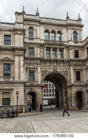 LONDON, ENGLAND - JUNE 16 2016: Royal Academy of Arts, City of London, England, Great Britain