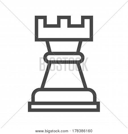 Chess Rook Thin Line Vector Icon. Flat icon isolated on the white background. Editable EPS file. Vector illustration.
