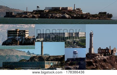 Alcatraz Island on a clear day and collage