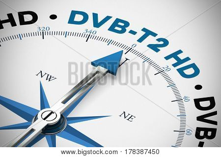 Change to DVB-T2 HD in television in Germany as concept (3D Rendering)